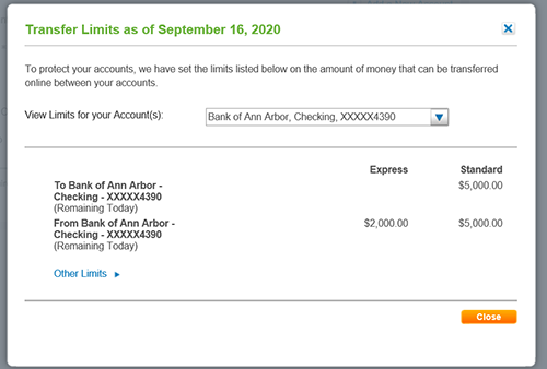Image of the Transfer limits Window