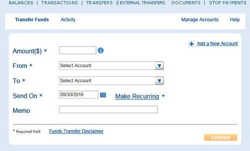 Image of the Transfer Funds screen