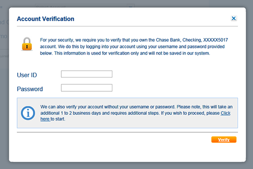 Image of the Account Verification screen